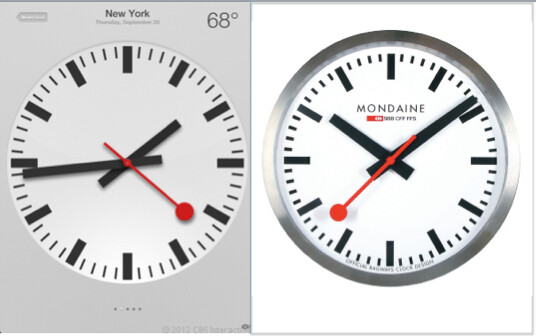 Apple used SBB's iconic clock design in iOS 6 (L) - Did Apple pay $21 million to use the Swiss Railway Clock design?