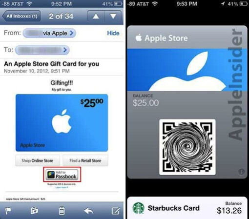 The Apple Store gift cards can be received via email (L) or stored in Passbook - Apple starts rolling out Passbook enabled Apple Store gift cards