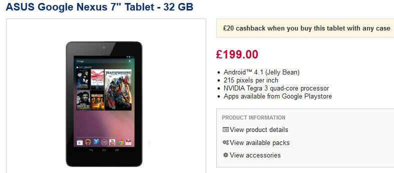 Currys discounts the 32GB Google Nexus 7 to those who buy a case - 32GB Google Nexus 7 available for £179.99 from U.K.'s high street retailers