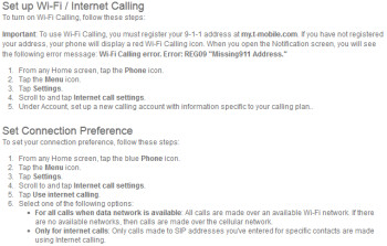 T-Mobile's support page for the Google Nexus 4 shows how to setup Wi-Fi Calling