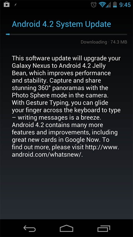Android 4.2 rolling out to some Samsung Galaxy Nexus owners