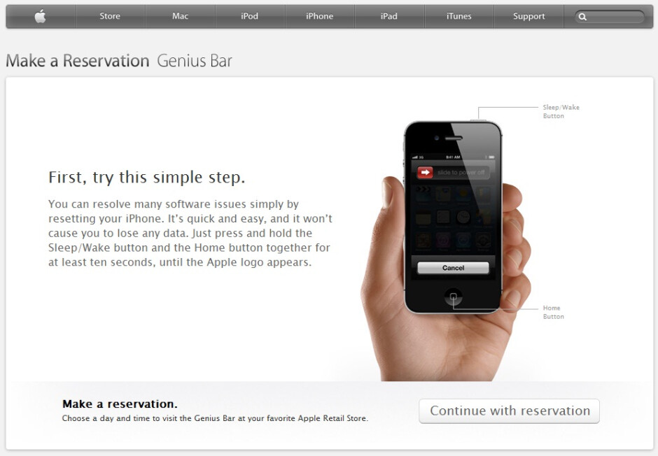 Give it a re-boot before proceeding - Need a Genius Bar appointment for your iPhone?  Try resetting it first