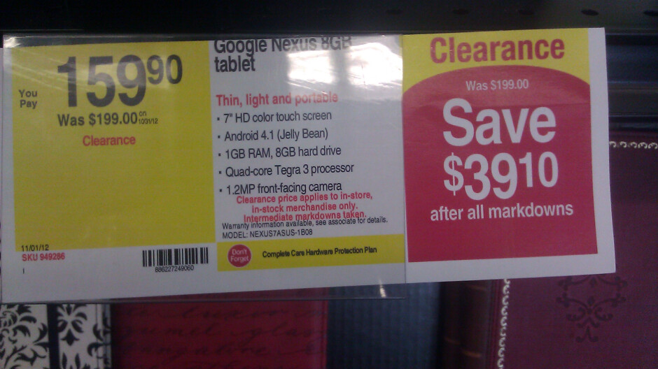 Staples brick-and-mortar stores offering Nexus 7 for $160