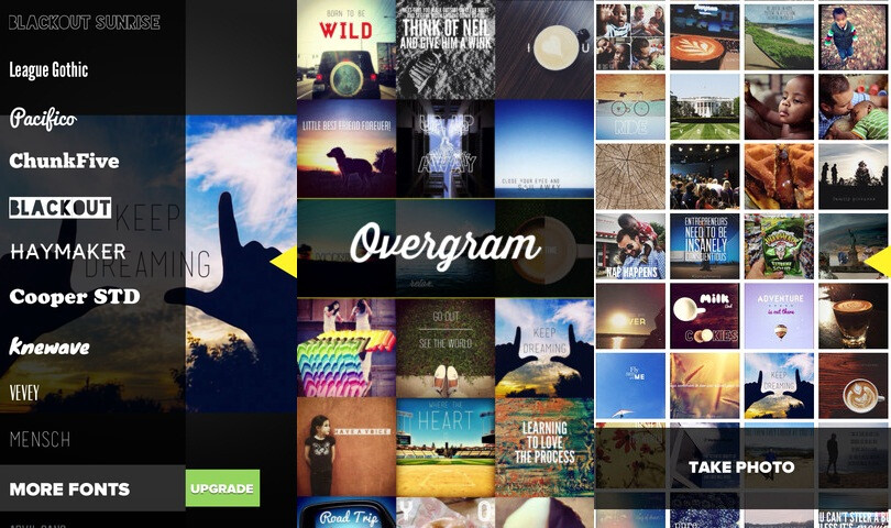 Overgram is a neat app to put text on top of images, inspire people