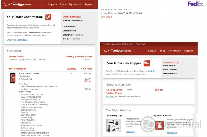 The Nokia Lumia 822 should arrive at your house by Thursday - Verizon starts shipping the Nokia Lumia 822; delivery date is November 15th