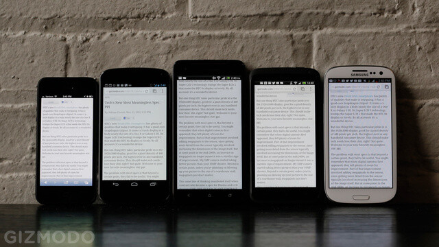 Left to right - Apple iPhone 5, Gogle Nexus 4, HTC Droid DNA, HTC One X, Samsung Galaxy S III - 440 pixels per inch for $200: HTC Droid DNA vs iPhone 5 vs Galaxy S III vs Nexus 4 screen comparison