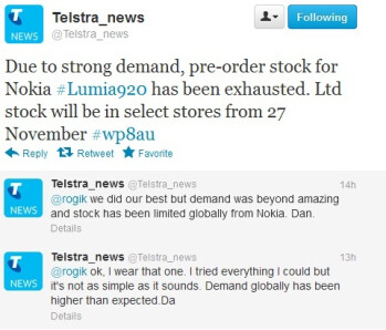"Nokia Lumia 920 sells out at Telstra, demand ""beyond amazing"""