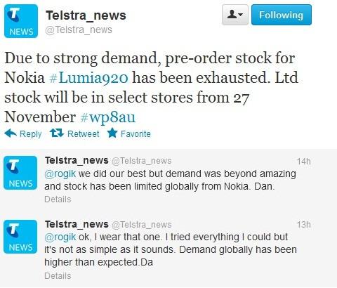 "Nokia Lumia 920 sells out at Telstra, demand ""beyond amazing"""