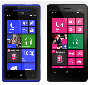 The HTC 8X and the Nokia Lumia 810 - Besides Google Nexus 4, T-Mobile launches HTC 8X, Nokia Lumia 810 and Samsung GALAXY Tab 2 10.1
