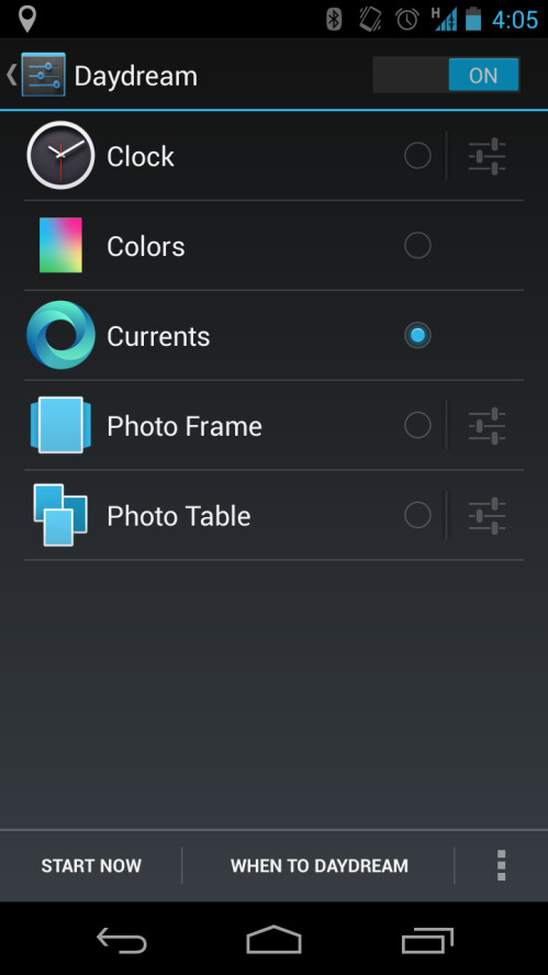 """Feature: Android 4.2 """"Daydream"""" mode"""