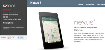 Nexus 7 with cellular data sells out on Google Play as well