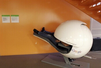 A nap pod in a Google office isolates you from sound and visual disruptions.