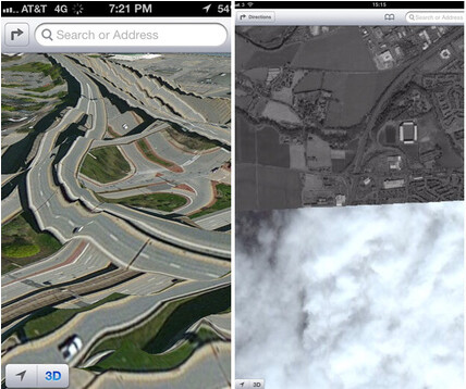 Examples of Apple Maps failure. Images courtesy of Gizmodo - Google distributing test version of its Maps app for iOS