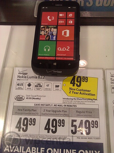 Best Buy has the Nokia Lumia 822 at half Big Red's price - Verizon: HTC 8X and Nokia Lumia 822 in stores; Best Buy offering black Nokia Lumia 822 for $49.99