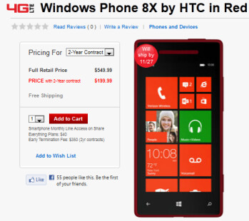 The HTC 8X (L) and the Nokia Lumia 822 are in stock at Verizon