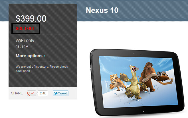 The Google Nexus 10 is all sold out - 16GB Google Nexus 10 joins the other sell outs in the Google Play Store