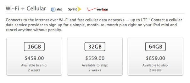 LTE iPad mini and iPad 4 arrive on AT&T, Sprint and Verizon