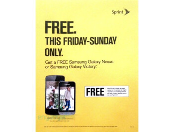 Samsung Galaxy Nexus and Victory 4G for Sprint will be offered for free on Black Friday