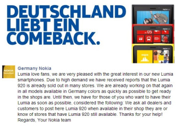 Nokia Germany acknowledges the sell out of the Nokia Lumia 920