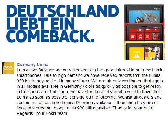 Nokia Germany acknowledges the sell out of the Nokia Lumia 920 - Nokia Lumia 920 sold out in Germany