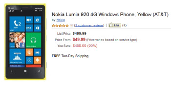 Amazon has the Nokia Lumia 920 for $49.99 on contract