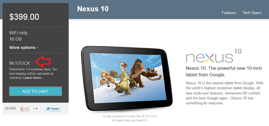 The Google Nexus 10 is back in stock in the U.S. - 16GB Google Nexus 10 back in stock at U.S. Google Play Store