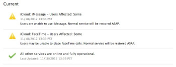 The iCloud system status shows problems