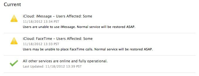 The iCloud system status shows problems - FaceTime and iMessage stop working for the fourth time in the last three months