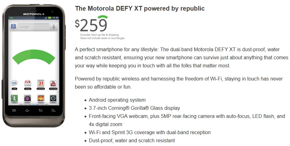The Motorola DEFY XT for Republic Wireless - Republic Wireless exits beta, $19 a month unlimited talk, text and data is now yours