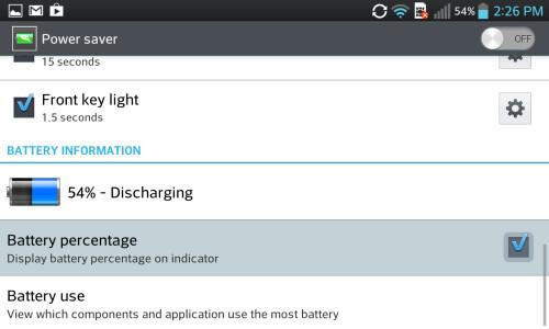 Battery percentage - Sony Timescape UI, LG Optimus UI, Samsung TouchWiz