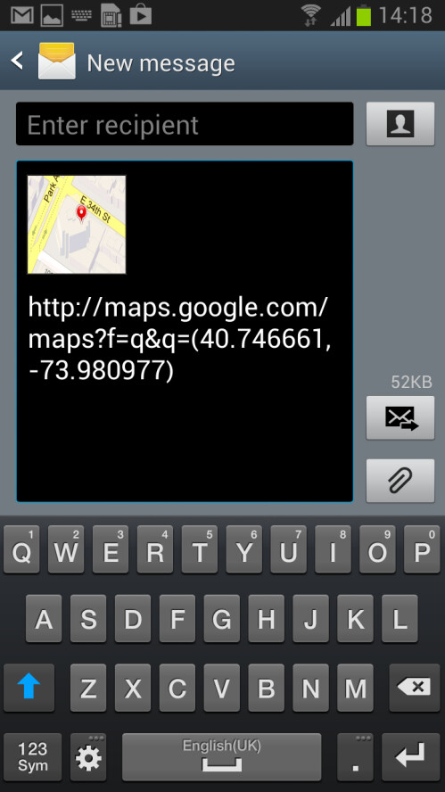 Send location from text - Samsung TouchWiz