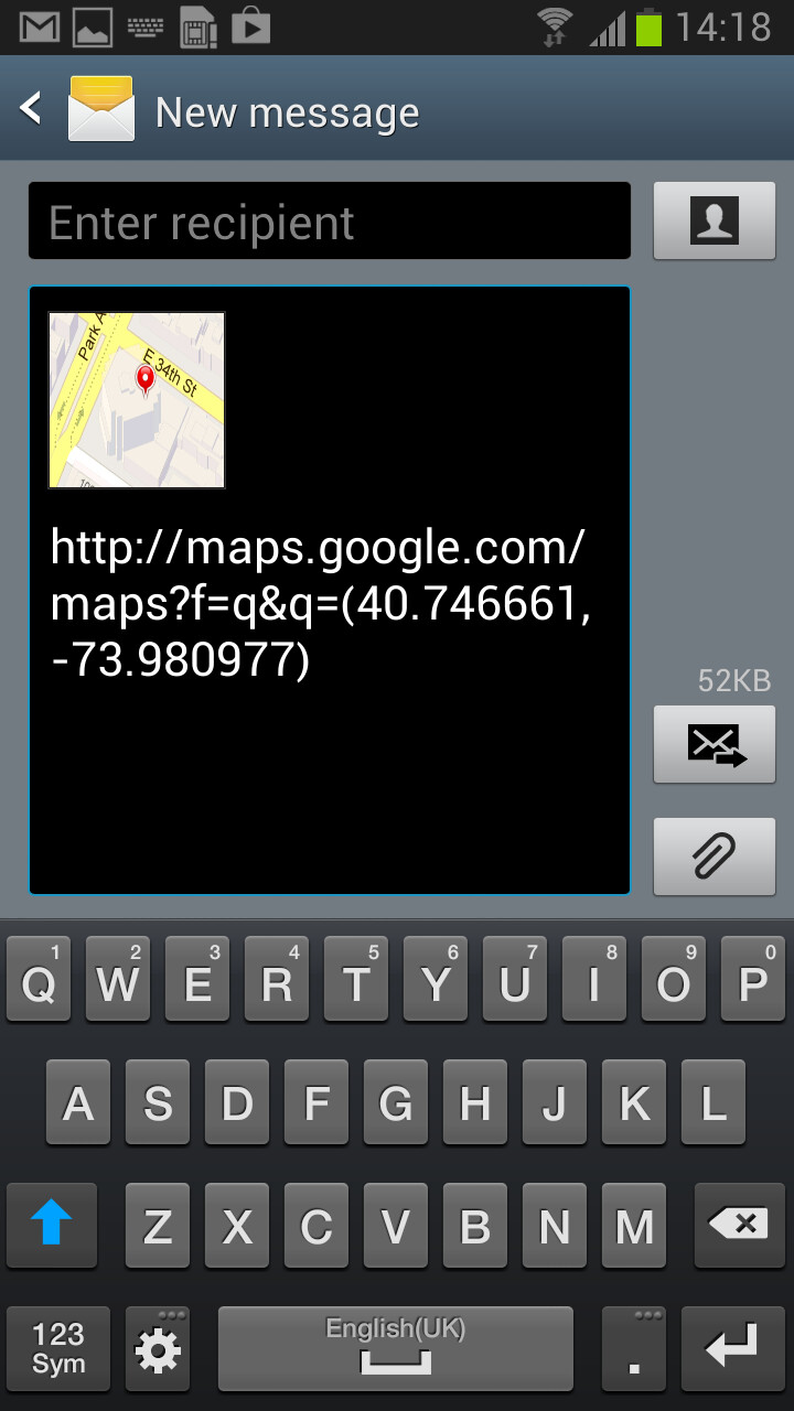Send location from text - Samsung TouchWiz