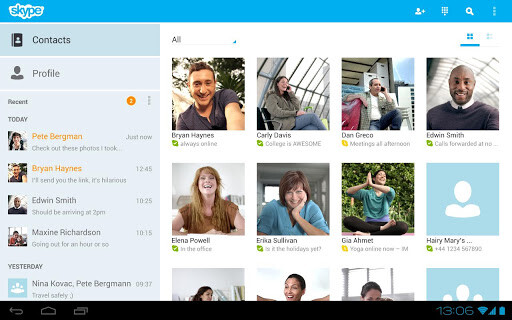 Skype 3.0 for Android is optimized for tablets - Skype for Android now optimized for use on tablets