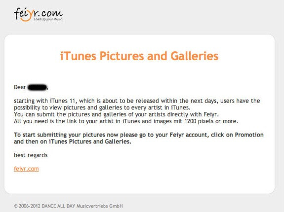 Artists are being asked to submit pictures which can be viewed by consumers while browsing content. - iTunes 11 getting ready to launch soon, Apple ready for musicians' pictures