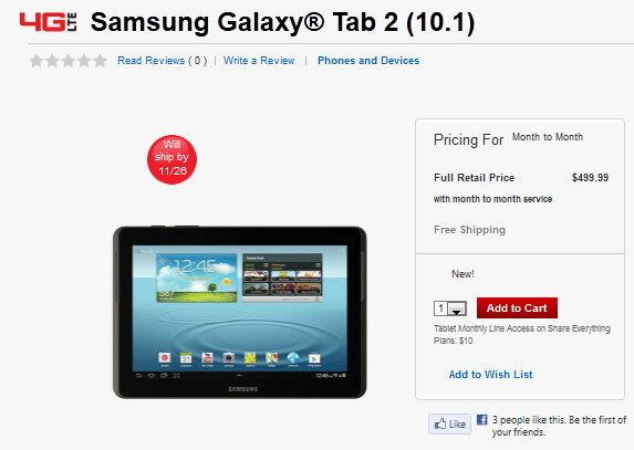 The LTE variant of the Samsung Galaxy Tab 2 (10.1) is available from Verizon - LTE enabled Samsung Galaxy Tab 2 (10.1) now available at Verizon