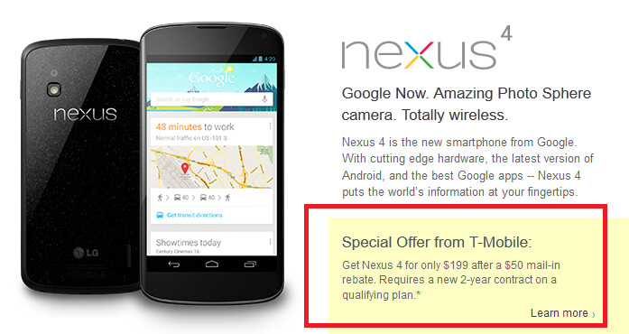 The recommendation from the sold out Google Play Store leads to a page for the sold out device at T-Mobile (R) - Want to buy the Google Nexus 4? The Google Play Store suggests you buy it from T-Mobile