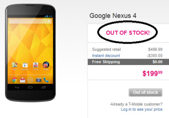 The recommendation from the sold out Google Play Store leads to a page for the sold out device at T-Mobile (R)