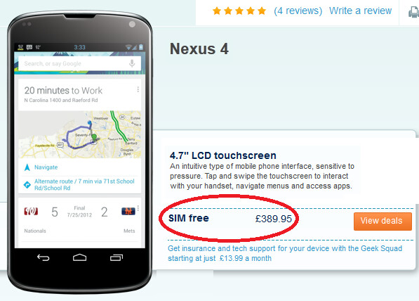 The U.K.'s Carphone Warehouse has the model in stock - Looking for a SIM-free 16GB Google Nexus 4? Here are a couple of places to go