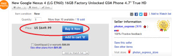 A seller on eBay has sold 19 units of the 16GB Google Nexus 4 for $649.99
