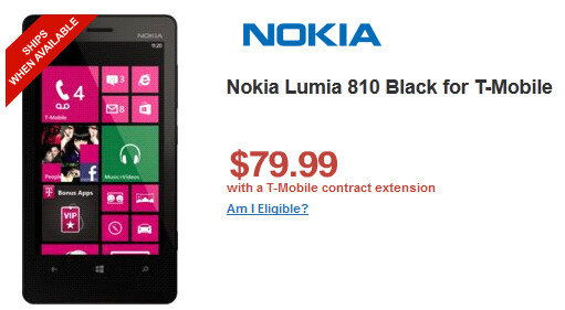 The Nokia Lumia 810 is just $79.95 from Wirefly - Nokia Lumia 810 $99.99 at T-Mobile, $79.99 at Wirefly