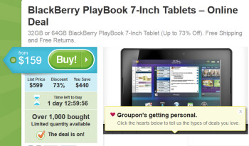 Groupon has a special deal on the BlackBerry PlayBook
