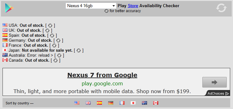 Check the status of that Google Nexus 4 you want - Website lets you check availability of Google Nexus 4 and other Nexus devices at Google Play Store