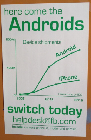 Posters in Facebook's offices pitch Android over iPhone