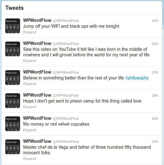 WP8's WordFlow Twitter is zen nonsense