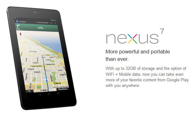 The 32GB Wi-Fi+Mobile Google Nexus 7 is back in stock in the U.K. - 32GB 3G/HSPA Google Nexus 7 back in stock in the U.K.