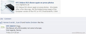 HTC says no HTC Deluxe DLX in Europe