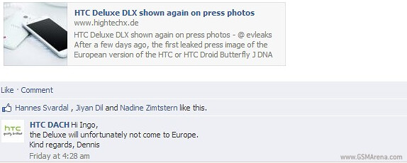 No HTC Deluxe DLX for Europe