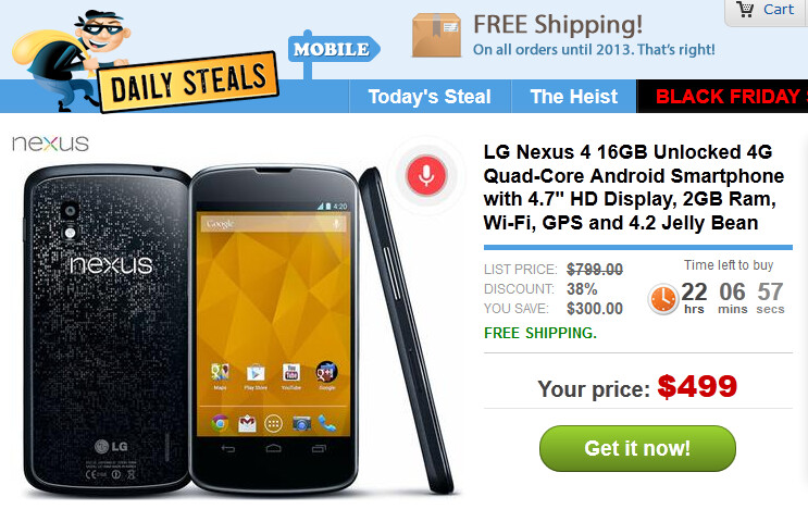 The 16GB Google Nexus 4 is in stock at Daily Steals - Daily Steals has 16GB Google Nexus 4 for $499