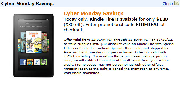 Celebrate Cyber-Monday with a special deal from Amazon - Amazon Kindle Fire 2 just $129 on Cyber-Monday