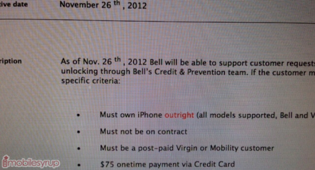 Virgin Mobile Canada and Bell Canada will unlock your Apple